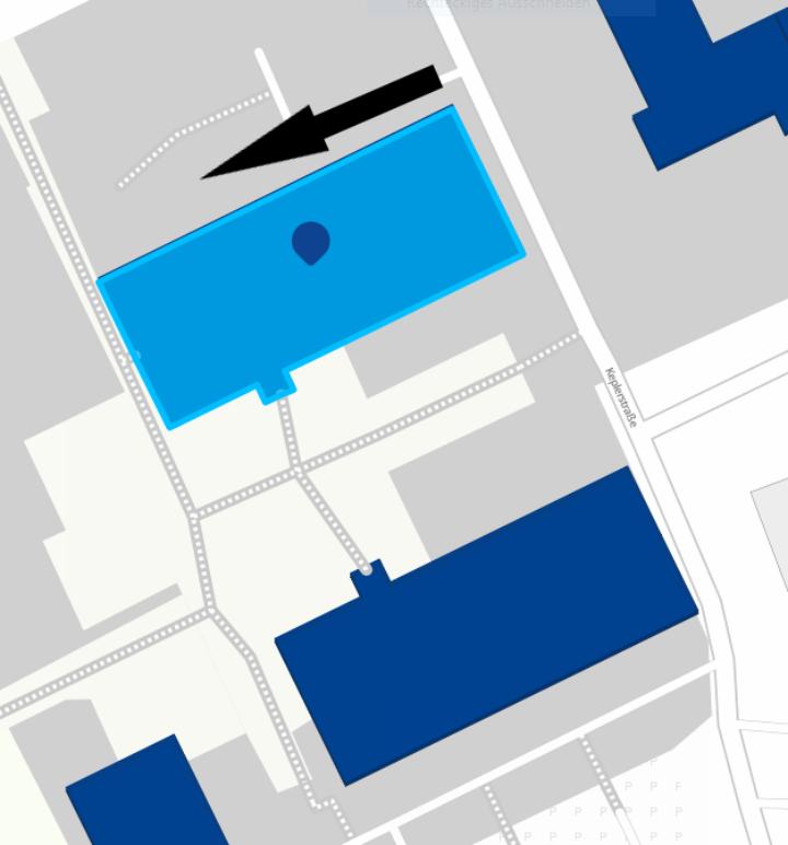 Lageplan für Zugang Tiefenhörsaal mit Richtungspfeil